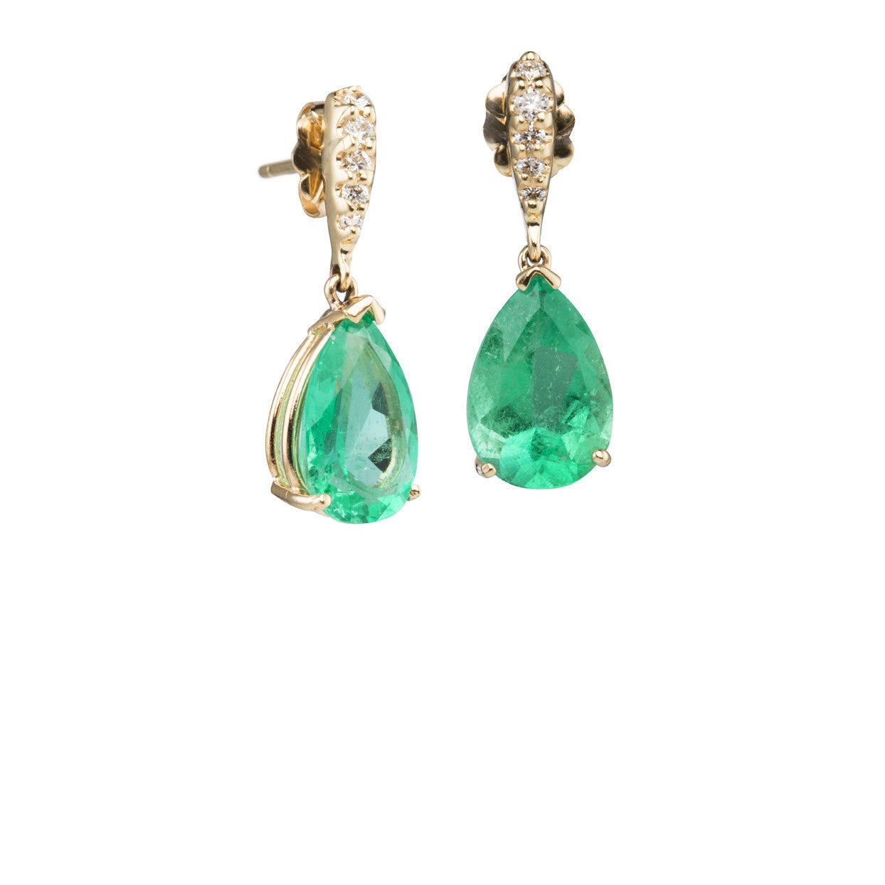 Eire Emerald Earrings are soothing green emeralds accented with diamond tops in 18k yellow gold.