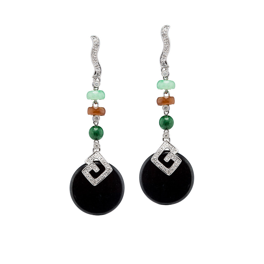"""Gatsby"" Multi Colored Jade Art Deco Style Earrings"