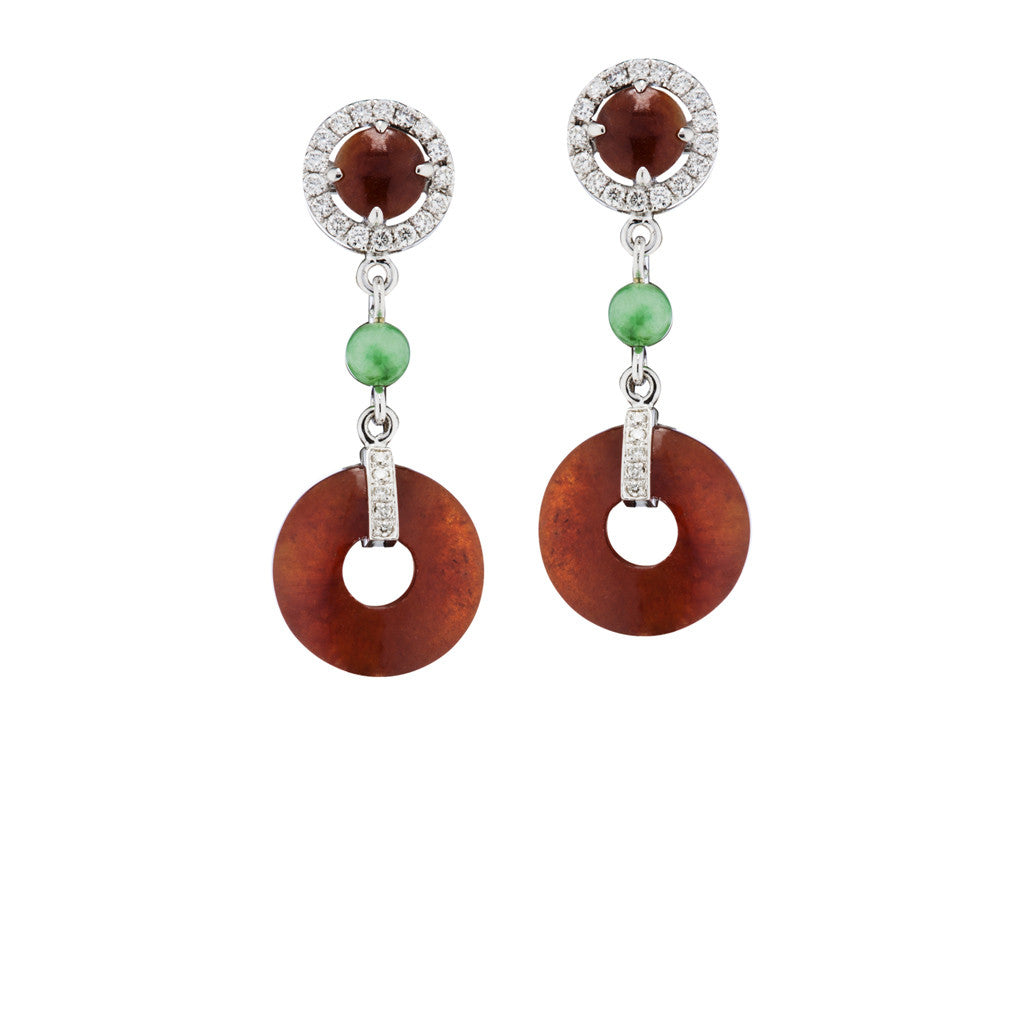 Red Jade Earrings with diamond accents