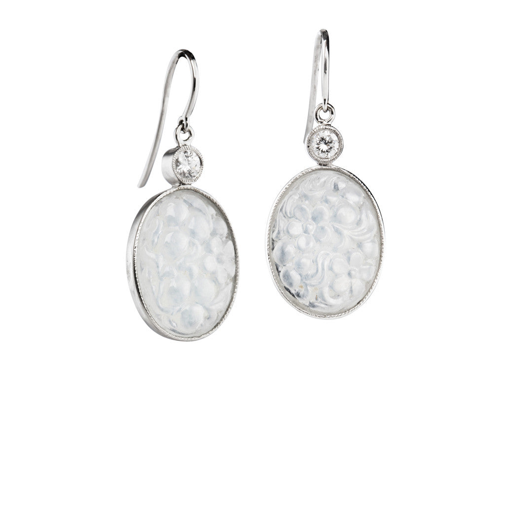 Beautifully carved Chrysanthemum Ice Jade Earrings with diamond accents in 18k white gold.