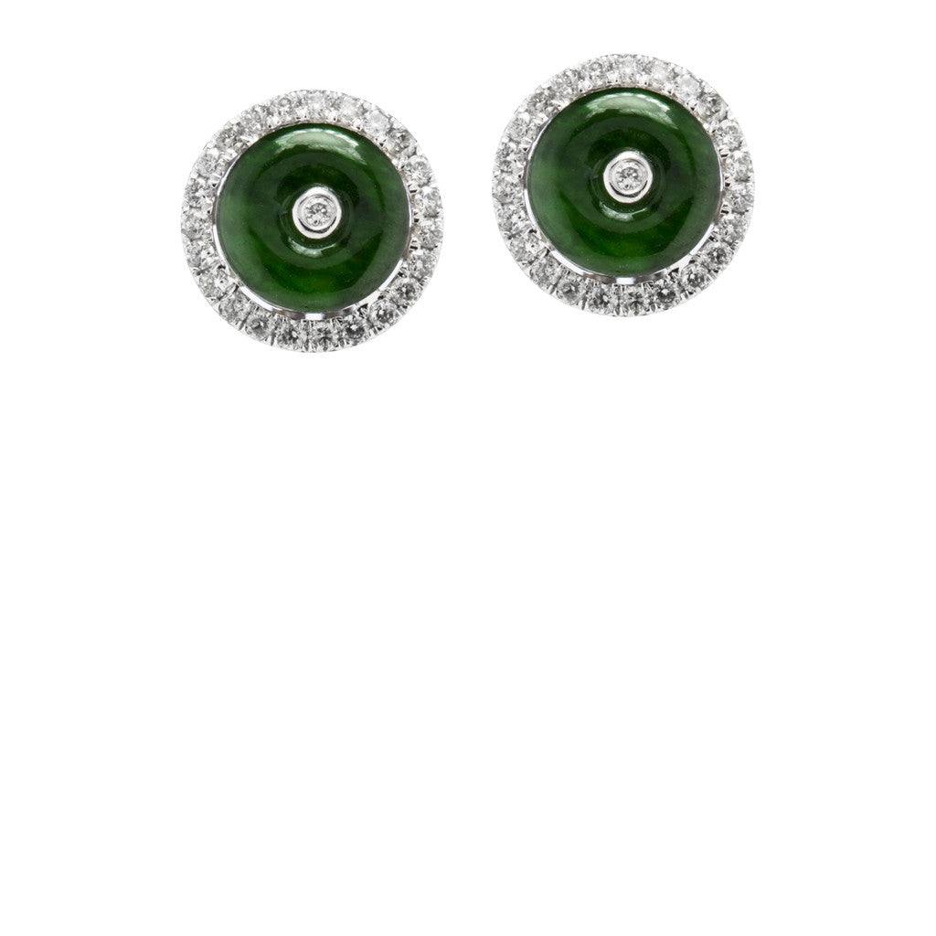 Burmese Beauty describes these breathtaking Green Jade earrings with diamond halos.