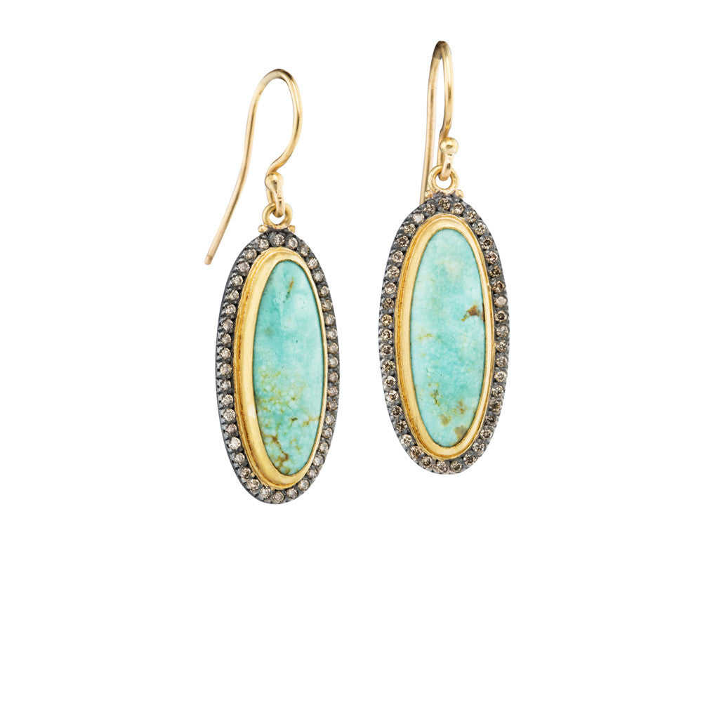 Turquoise & Diamond Drop Earring by Lika Behar