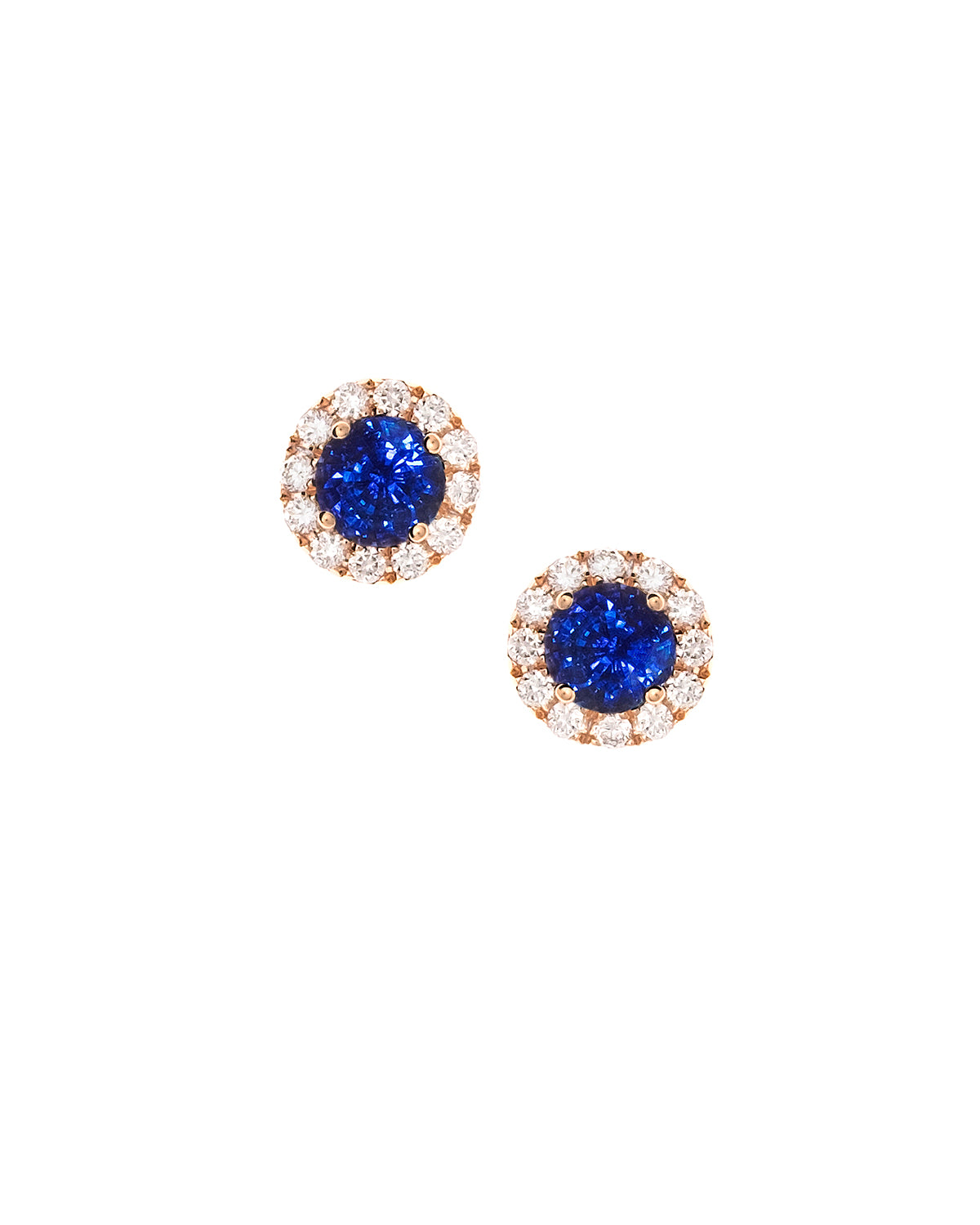 Sapphire and Diamond Rose Gold Studs