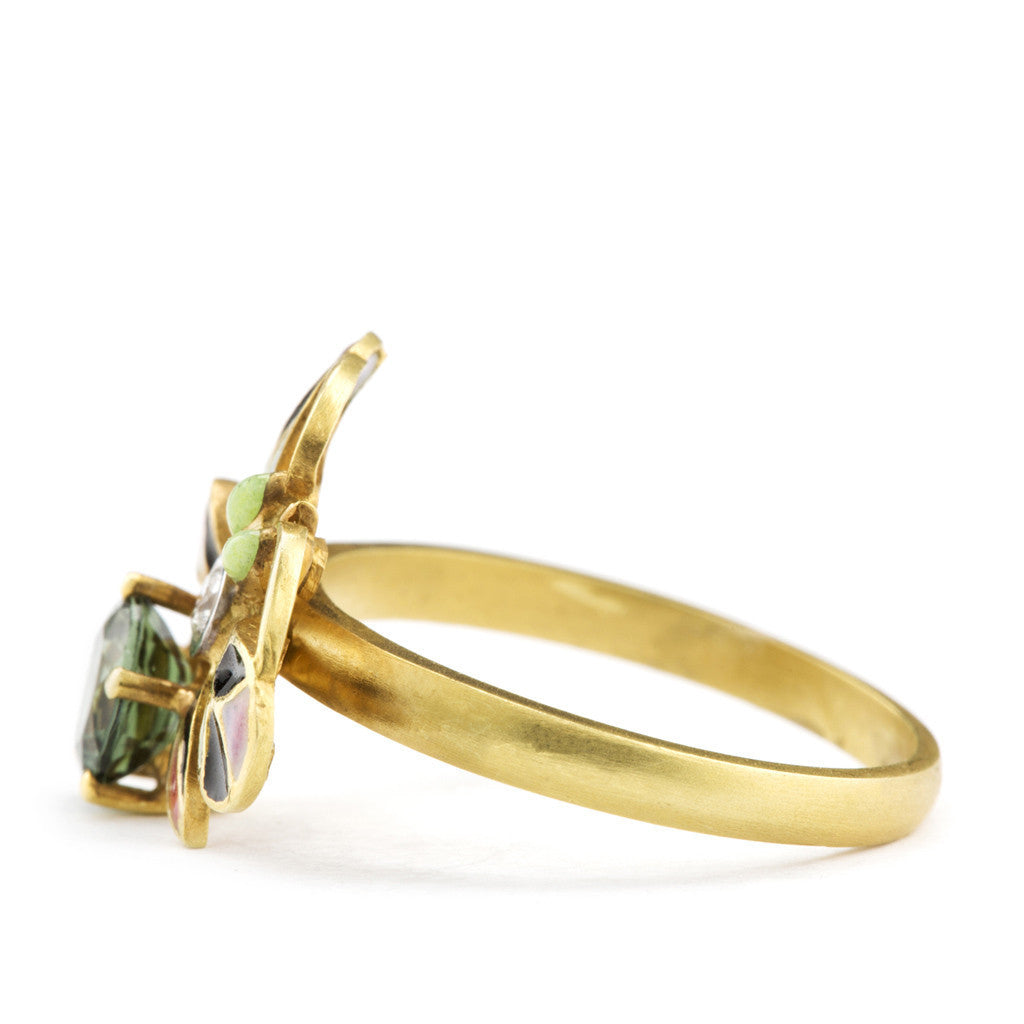Enamel and Tourmaline Bee Ring by Masriera