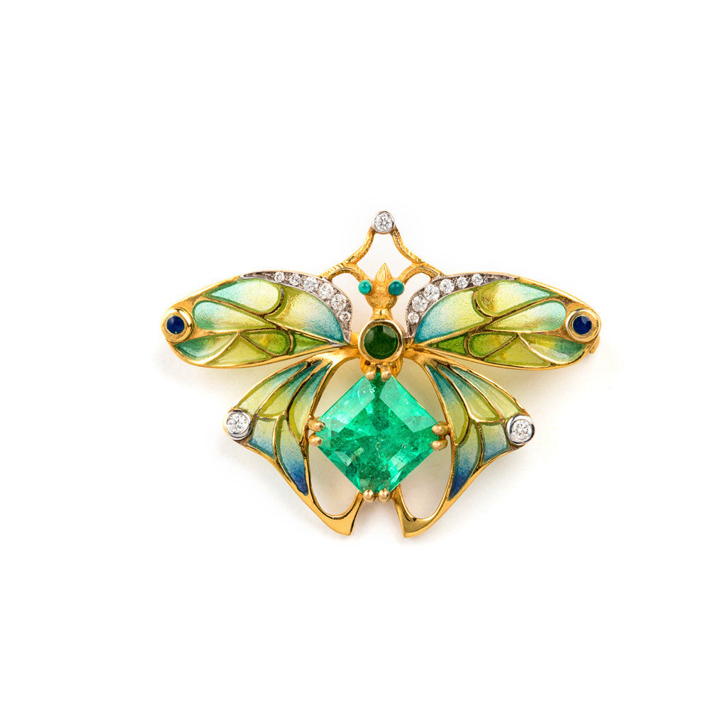 Bee Brooch with Emerald and Enamel by Masriera