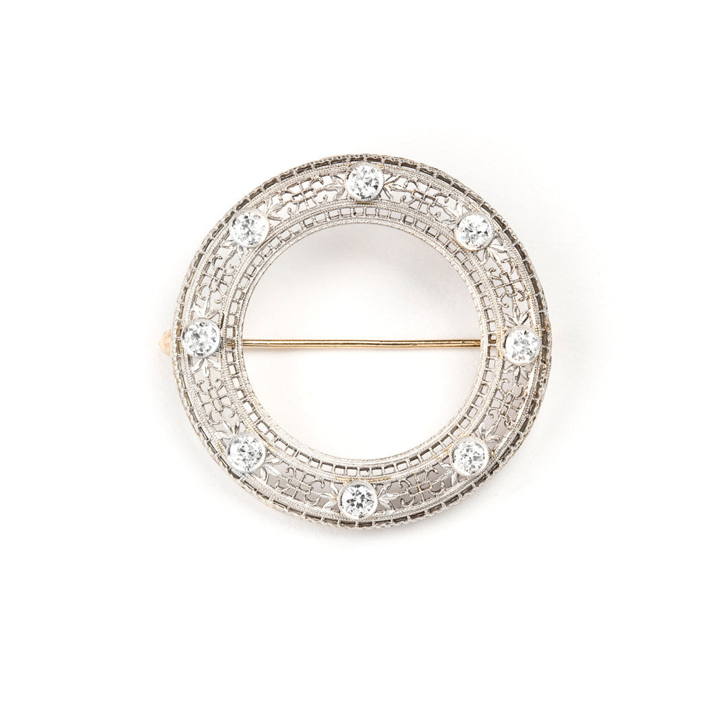 Antique Filigree and Diamond Circle Pin