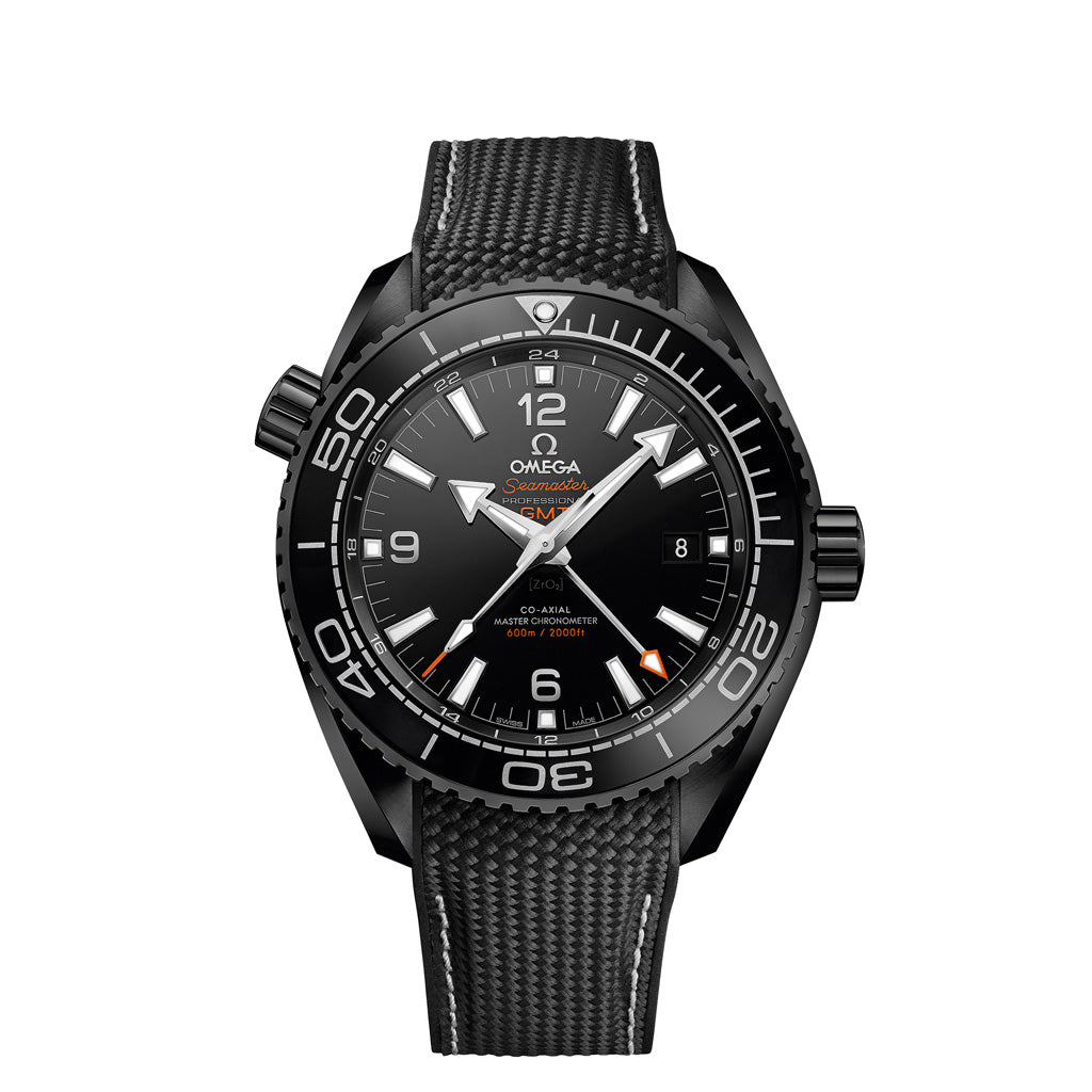 "Seamaster Planet Ocean 600 M Omega Co-Axial Master Chronometer GMT ""Deep Black"" 215.92.46.22.01.001"