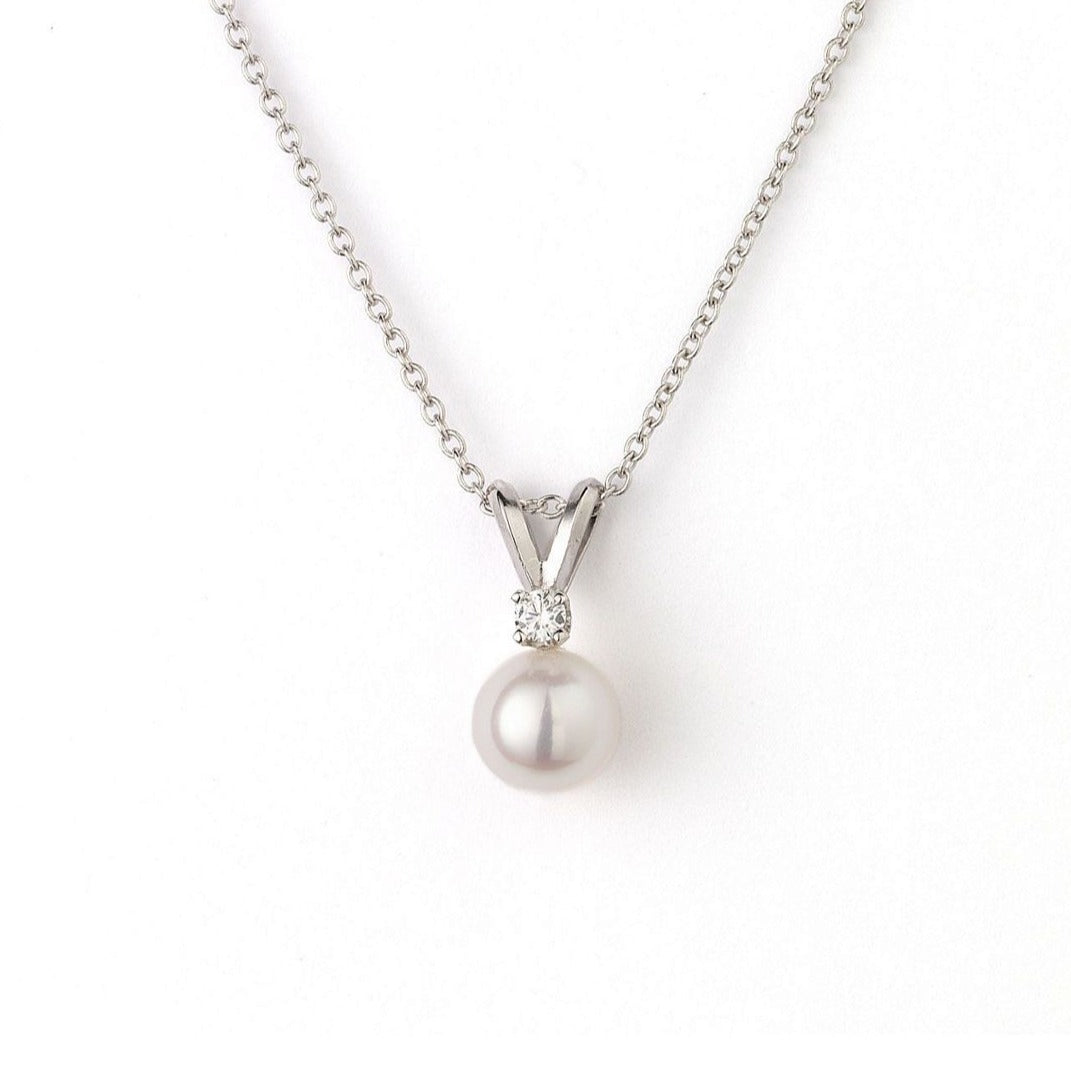 7-7.5mm 'AA' Quality Akoya Pearl .10ctw Diamond Pendant 18k White Gold Bail