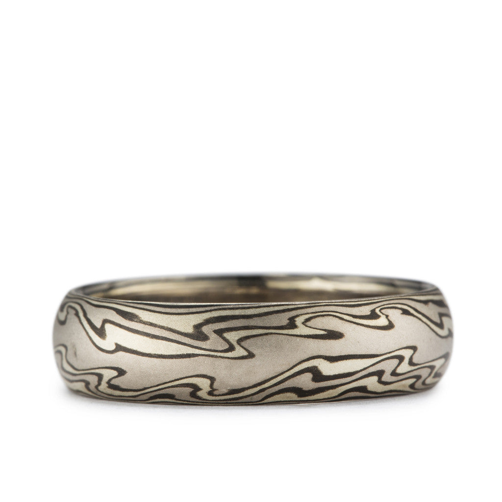 """Flame"" pattern Mokume Wedding Band"