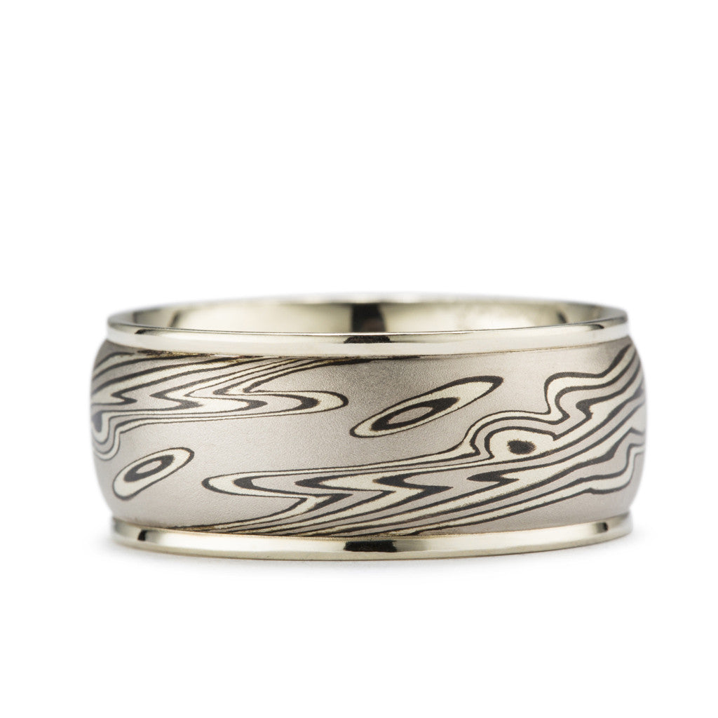 Mokume Wedding Band available in white, yellow and rose gold.
