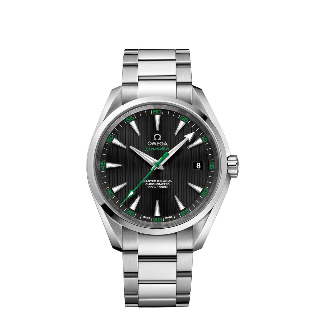 "Omega Seamaster Aqua Terra ""Golf"" in stainless steel with green accents."
