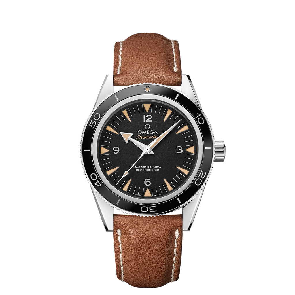 omega Seamaster 300 in stainless steel with leather strap.
