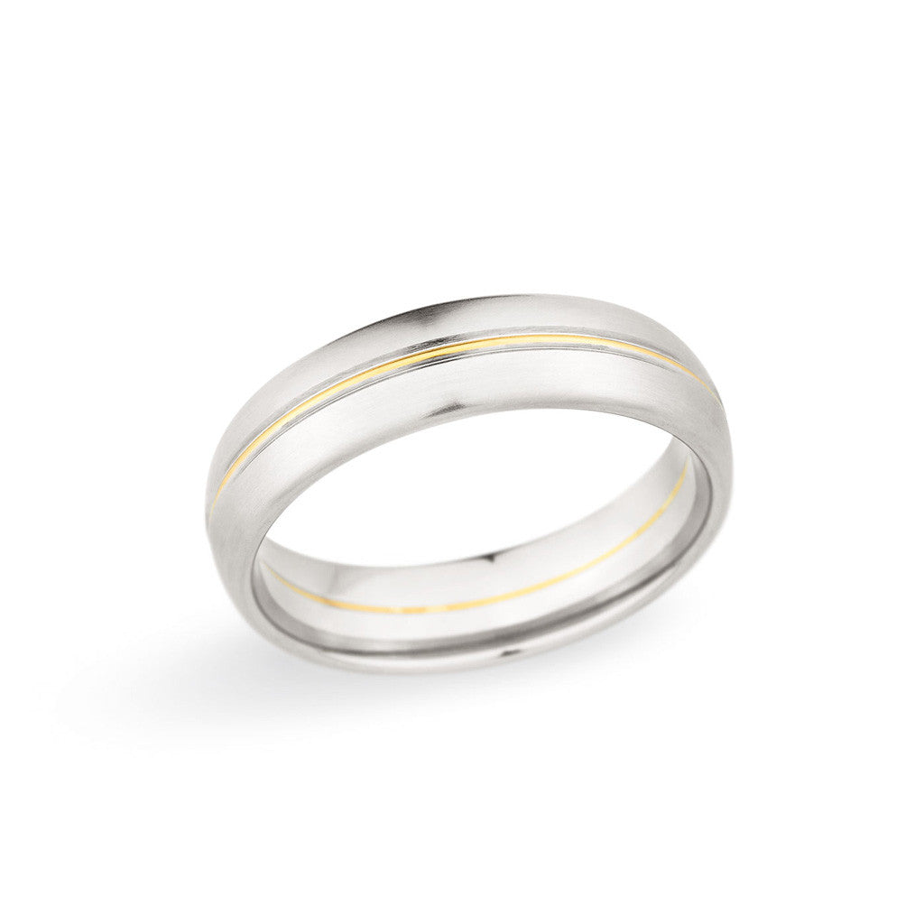 Man's Wedding Band with Gold Accent