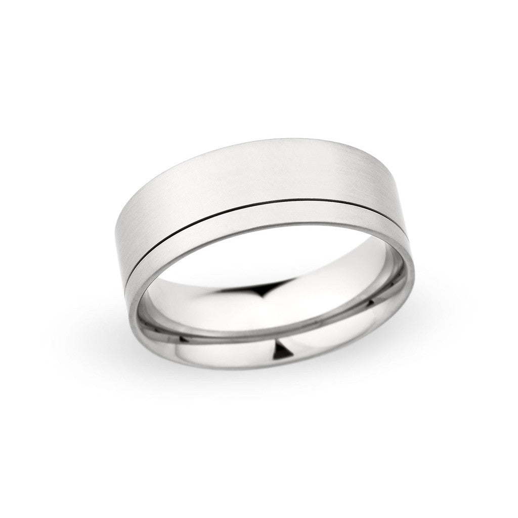 Contemporary Wedding Band with Offset Grove