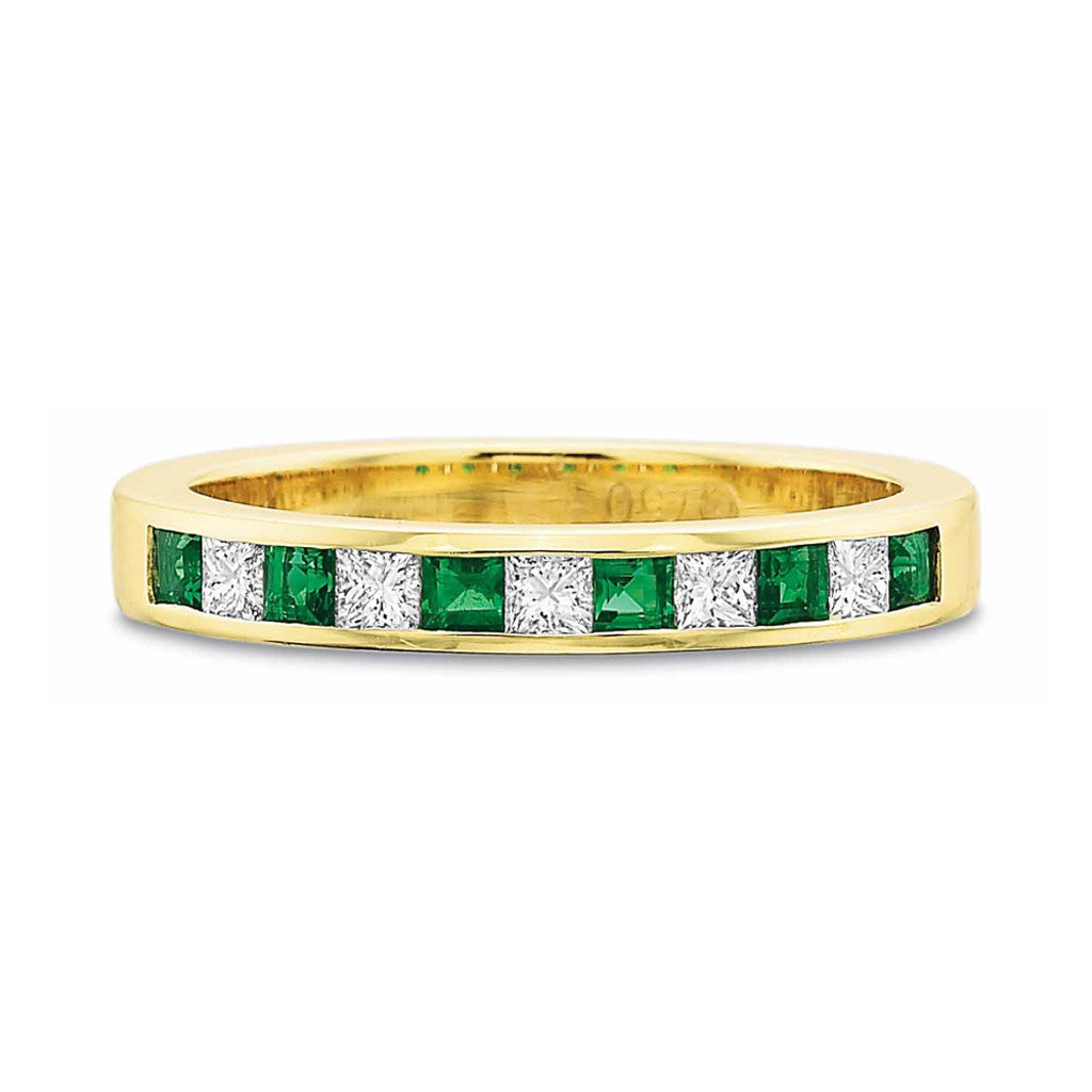 Emerald and Diamond Channel Set Band