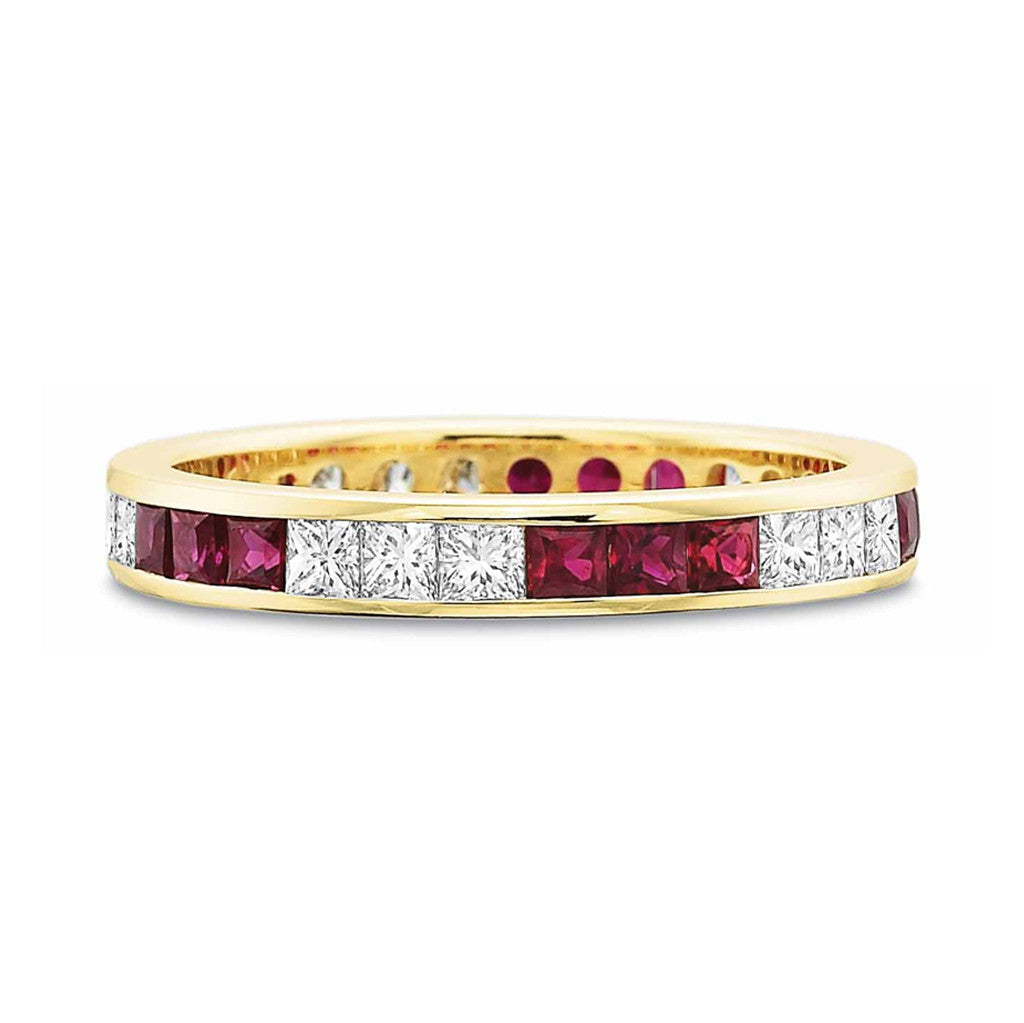 Ruby and Diamond Eternity Band in Yellow Gold