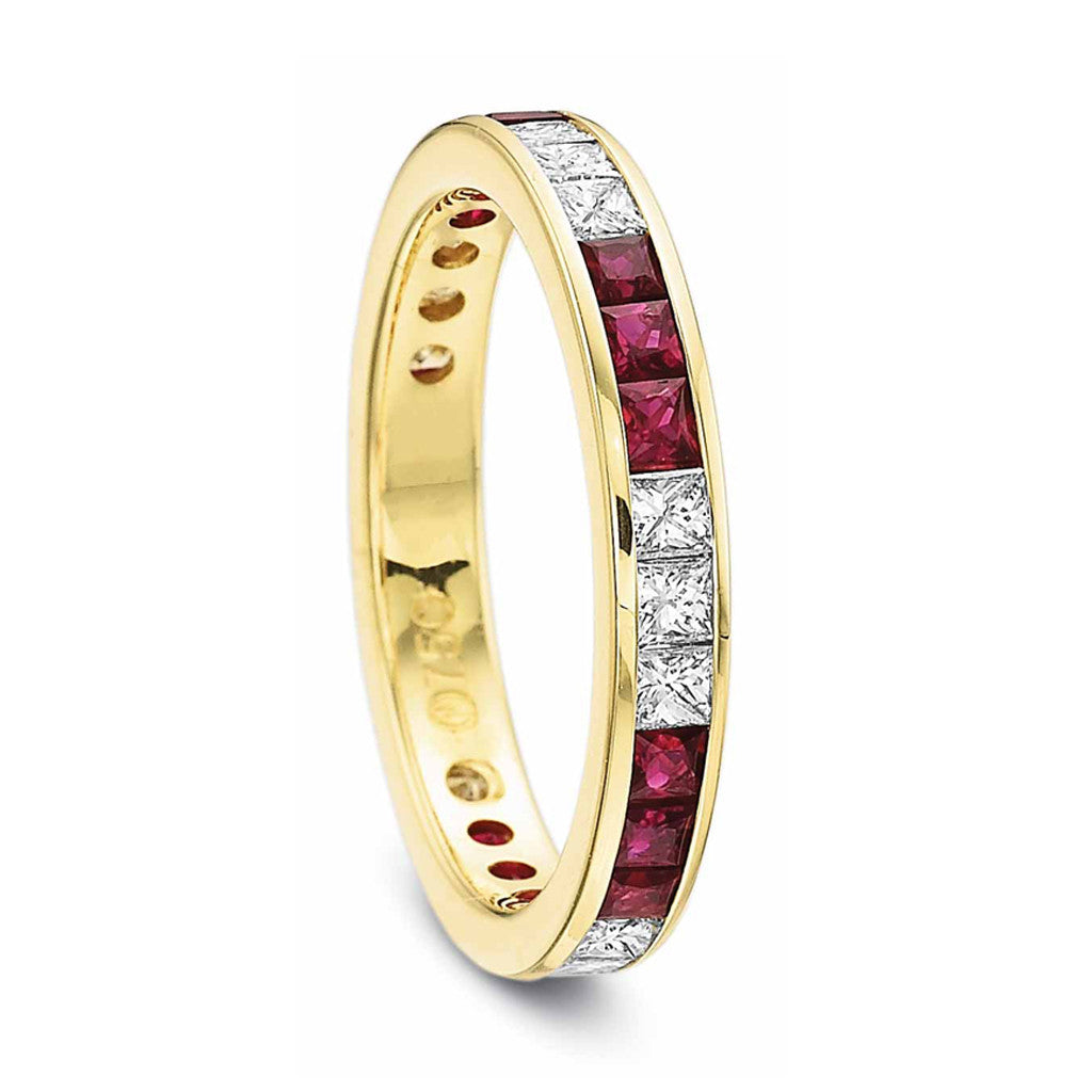 Eternity Band channel set with ruby and diamond