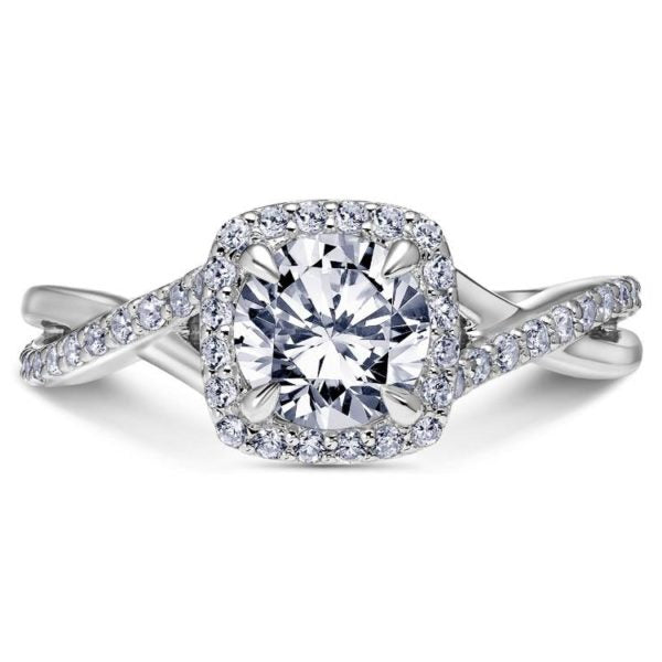Diamond semi mount 'Twist of Fate' from the Namaste collection by Scott Kay