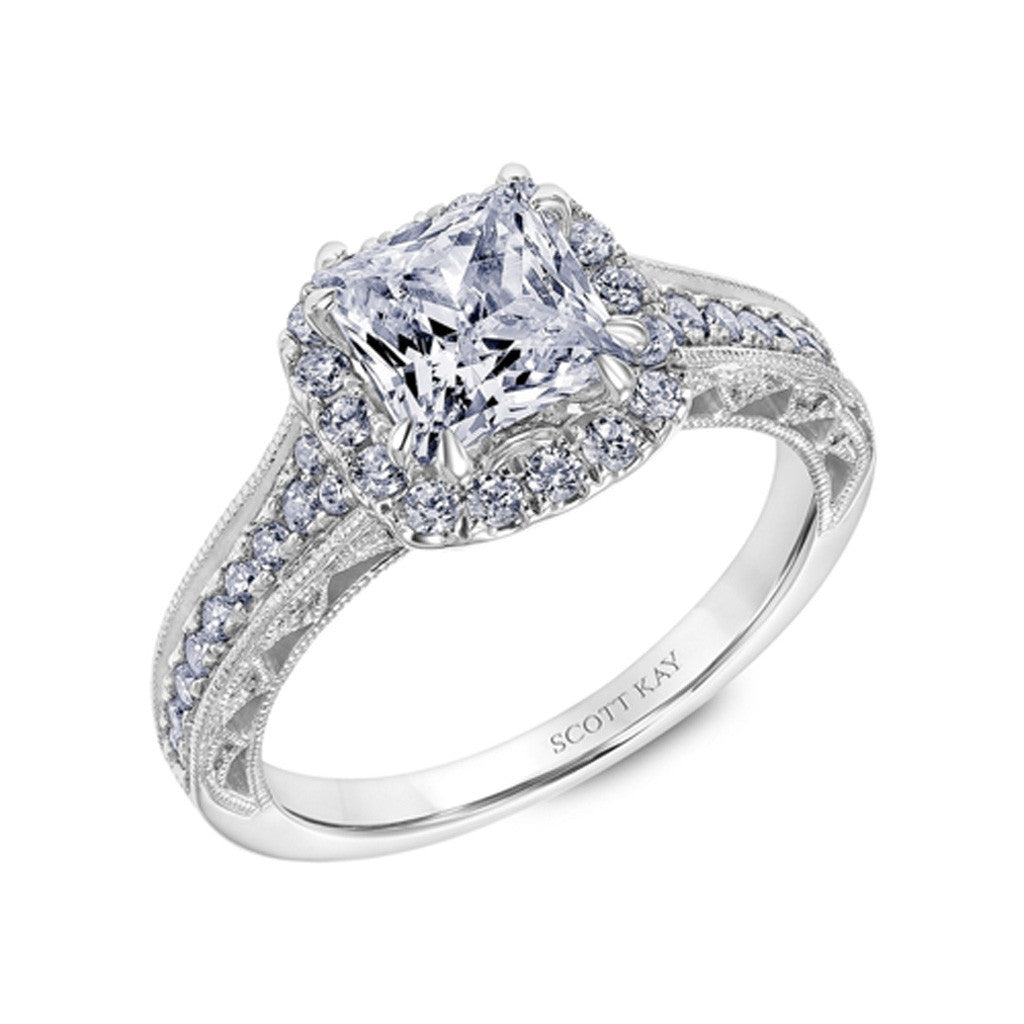 Heavens Gate Halo Diamond Engagement Ring by Scott Kay
