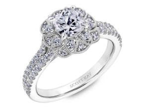 Heaven's Gate Floral Halo Engagement Ring by Scott Kay