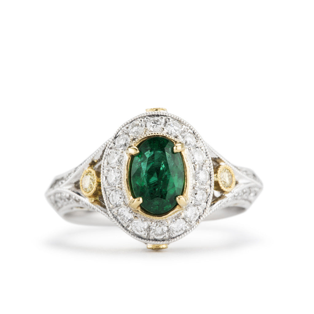 """Aileen"" two tone gold and Emerald ring with yellow diamond accents."