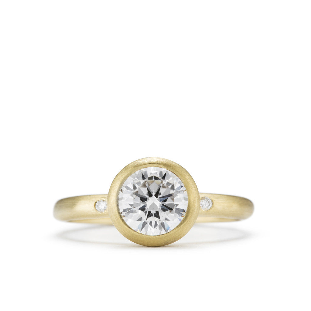Organic Yellow Gold and Diamond Engagement Ring with matte finish