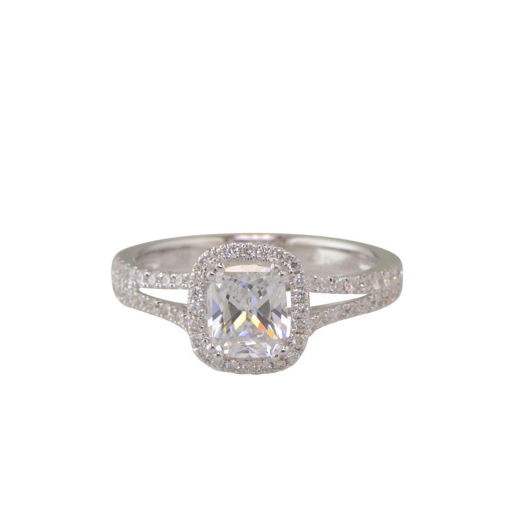 "Classic Cushion Diamond Halo Engagement Ring ""Santa Barbara"""