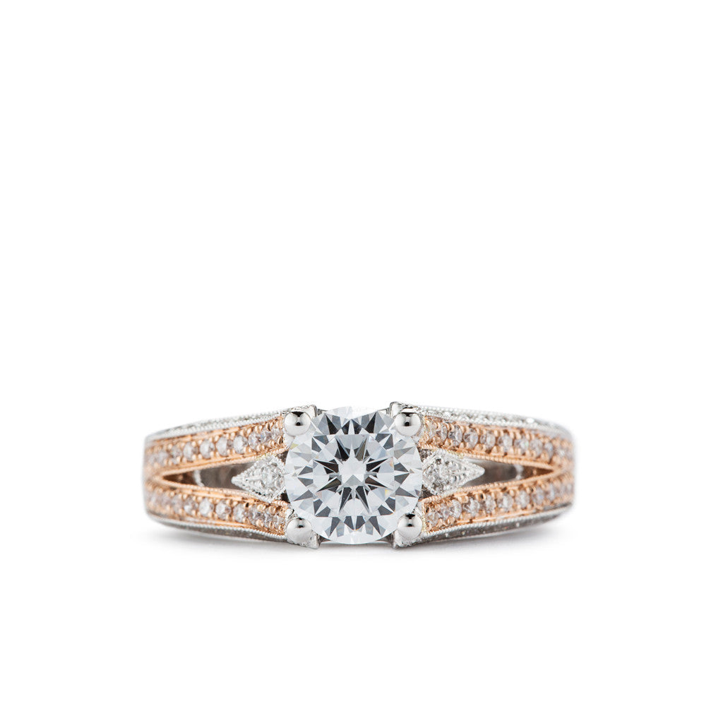 Diadori Engagement Ring in Rose Gold and Diamond. Elegant Cathedral style engagement ring.