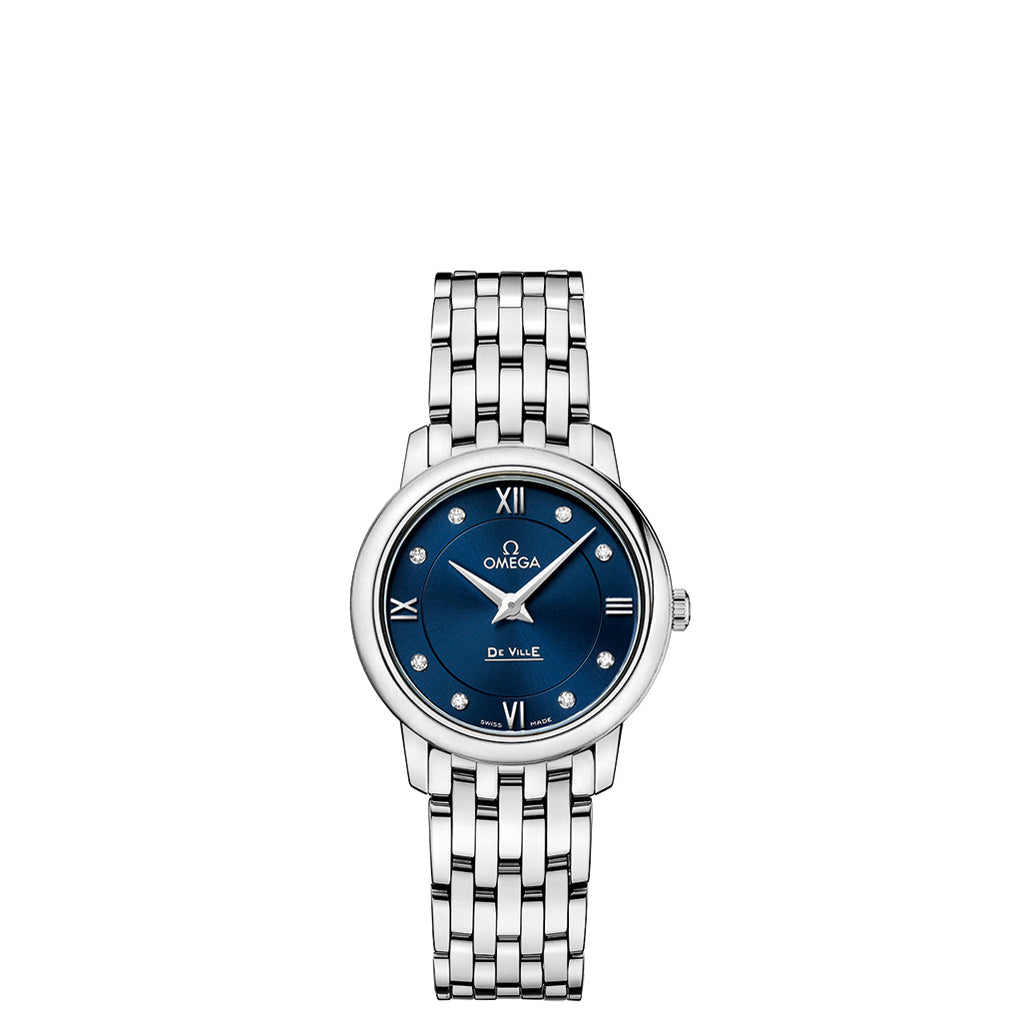 Omega De Ville Prestige Watch with Blue Dial and Diamond Accents.