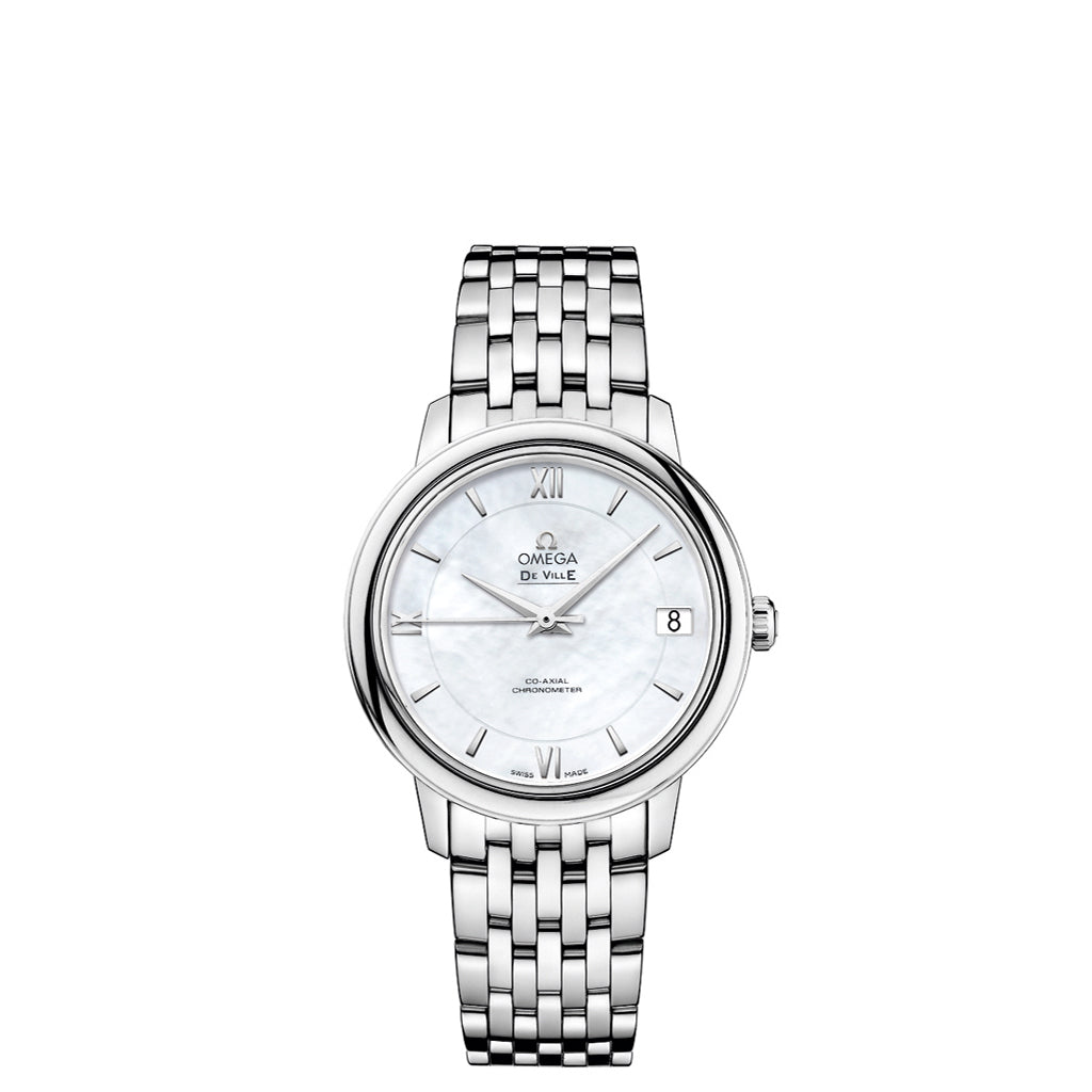 OMEGA De Ville Prestige Co-Axial watch in stainless steel with two-zone mother-of-pearl dial with Roman numerals.