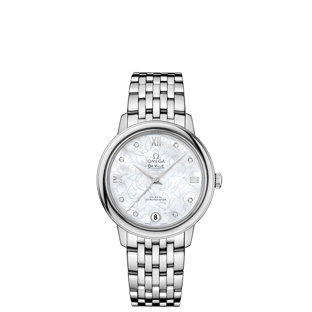 De Ville Prestige Co-Axial Watch with Mothe of Pearl 'Butterfly' Dial with stainless steel case and bracelet.