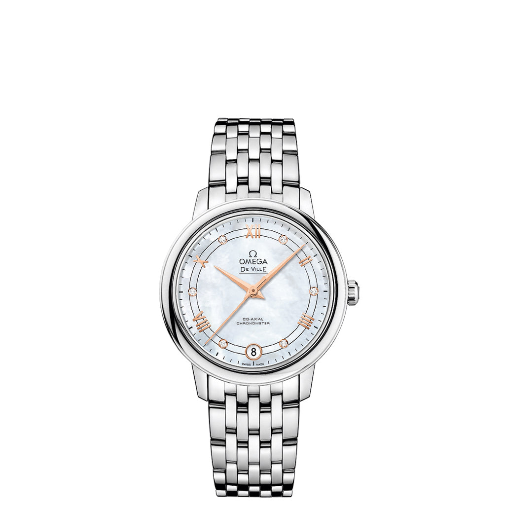 De Ville Prestige Co-Axial Wrist Watch in stainless steel case with red gold accents and white mother-of-pearl dial.