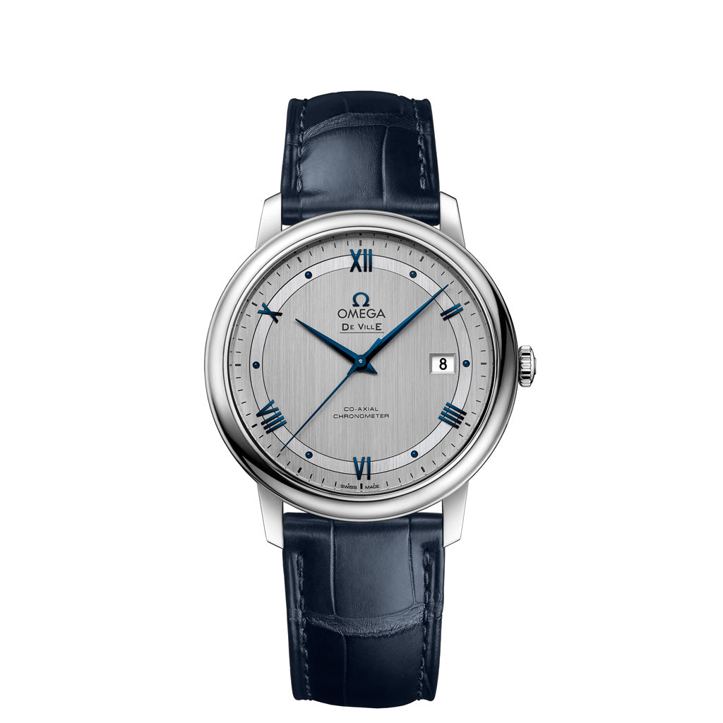 Omega De Ville Prestige Wrist Watch with Stainless Steel Case and brushed silver dial presented on a blue leather strap.
