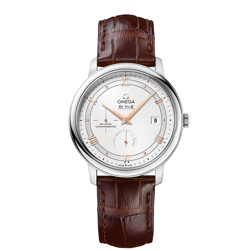 De Ville Prestige Co-Axial Power Reserve Watch sun-brushed silvery opaline dial with red gold-colored Roman numeral hour markers and polished cabochons