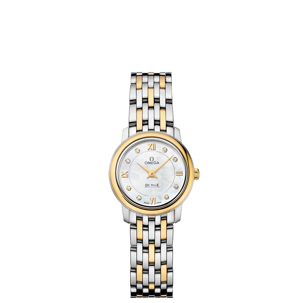 OMEGA De Ville Prestige Ladies two-zone watch with white mother-of-pearl dial.