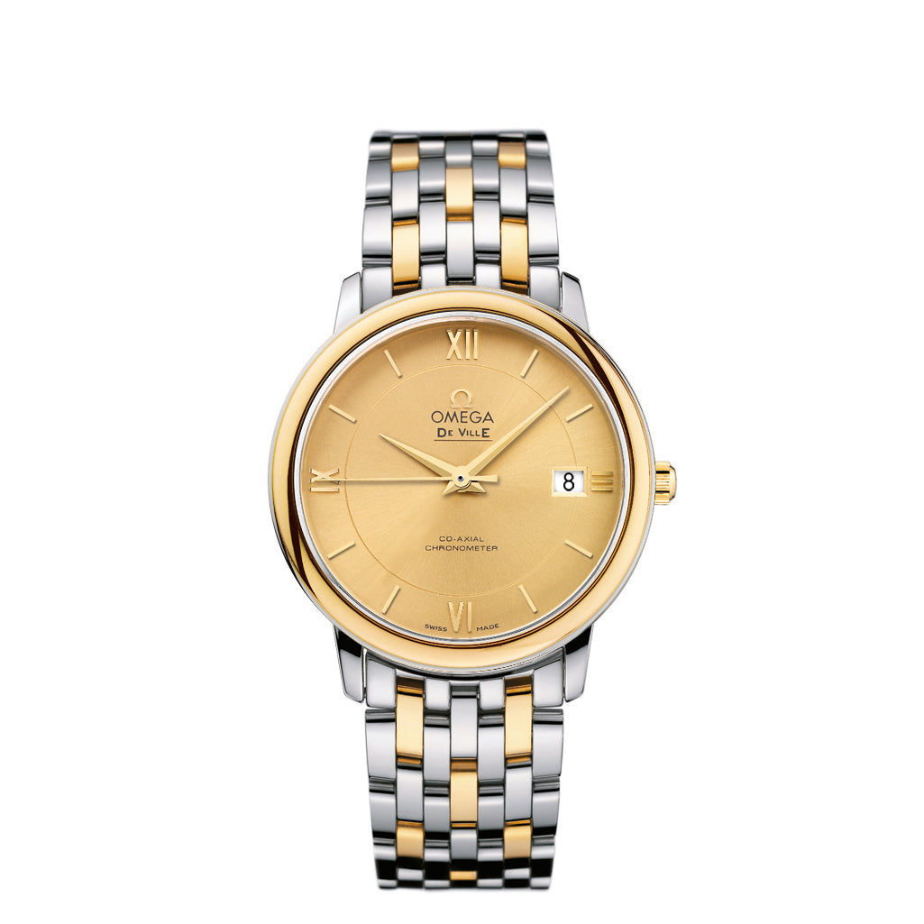 OMEGA De Ville Prestige Co-Axia Watch in Two-Tone Stainless Steel and 18k Yellow Gold.