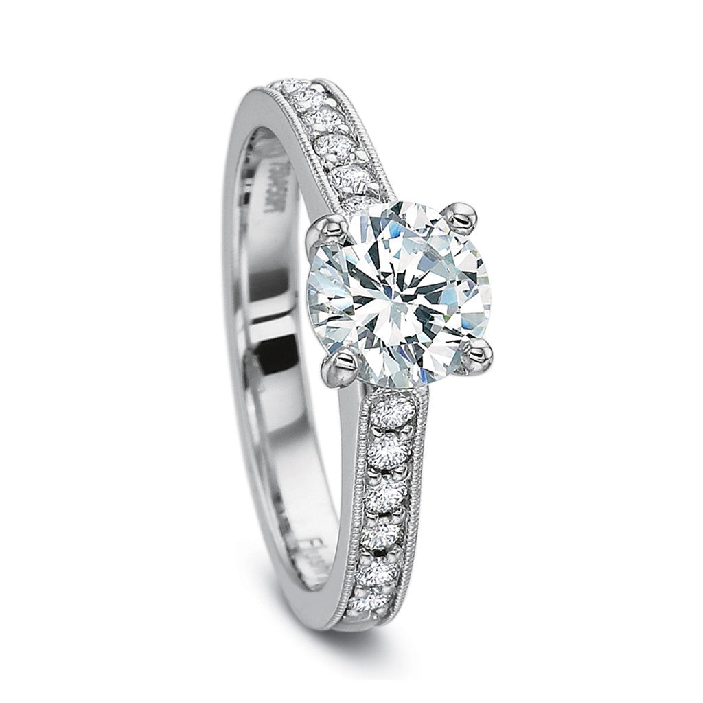 Classic Diamond Solitaire Engagement Ring with Channel Set Diamond Accents