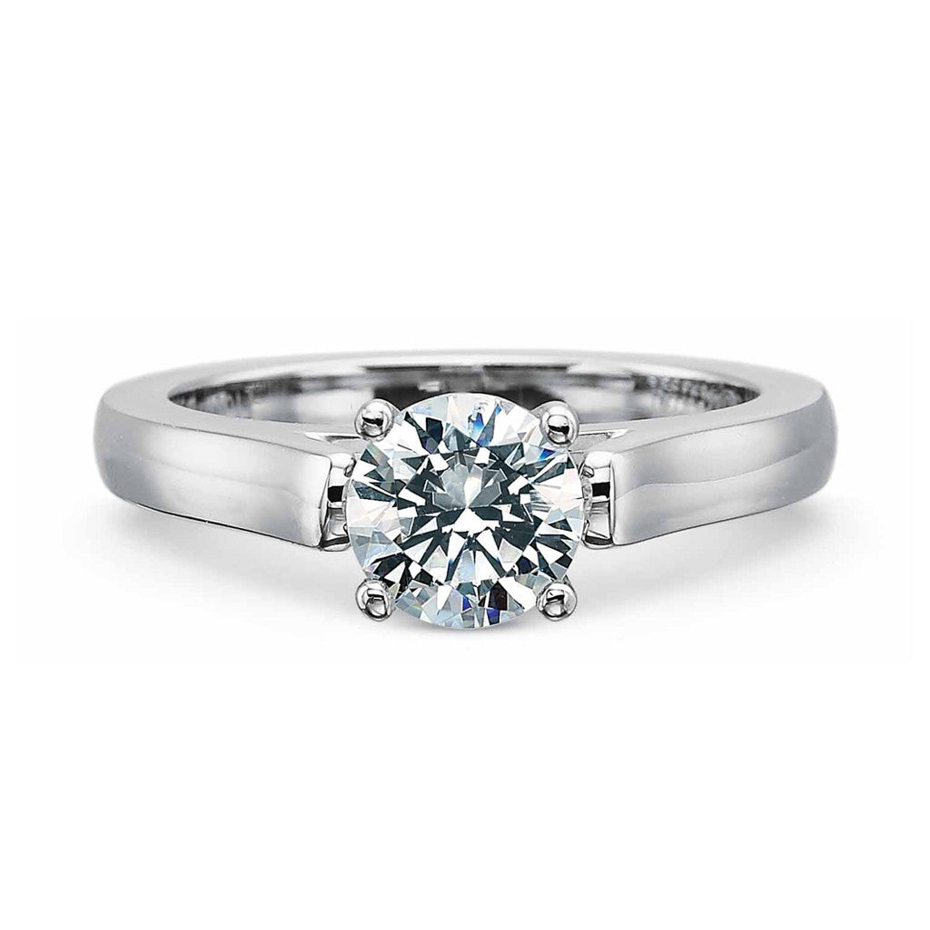 Platinum Flush Fit solitaire with classic four prong head