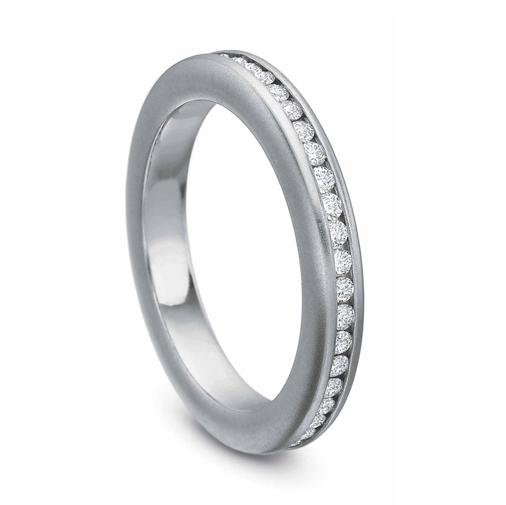 Platinum Channel Set Diamond Wedding Band