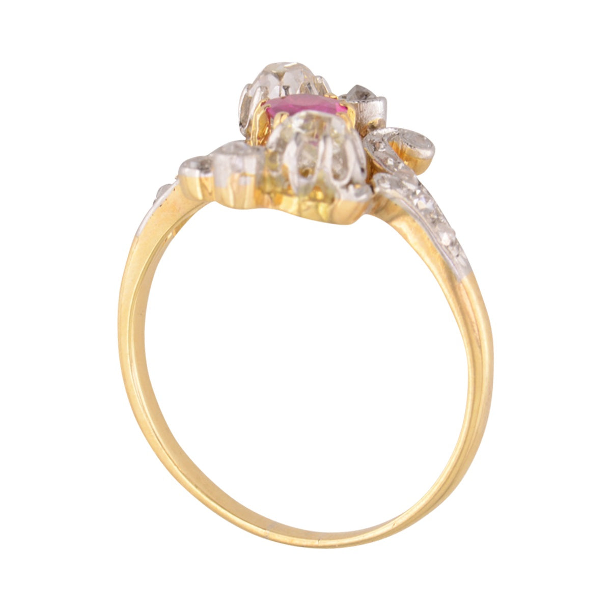 Authentic Edwardian Pink Sapphire and Diamond ring 'Ada.'