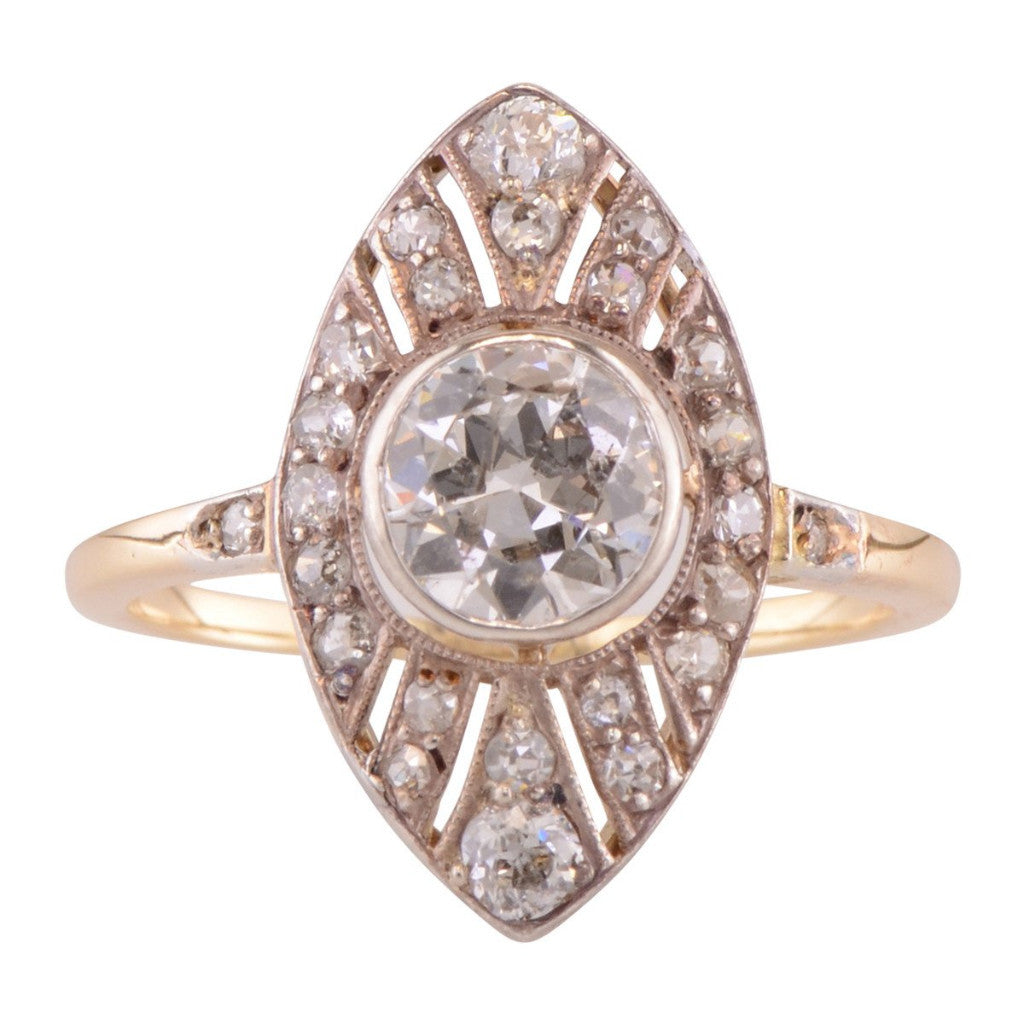 Rose gold and diamond navette shaped engagement ring 'Bianca'