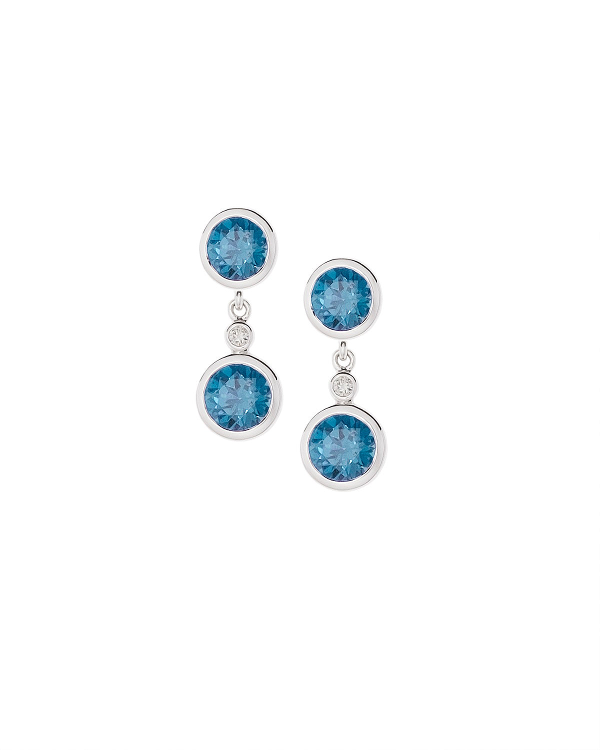 Double Dangle Aquamarine Earrings in 14k White Gold