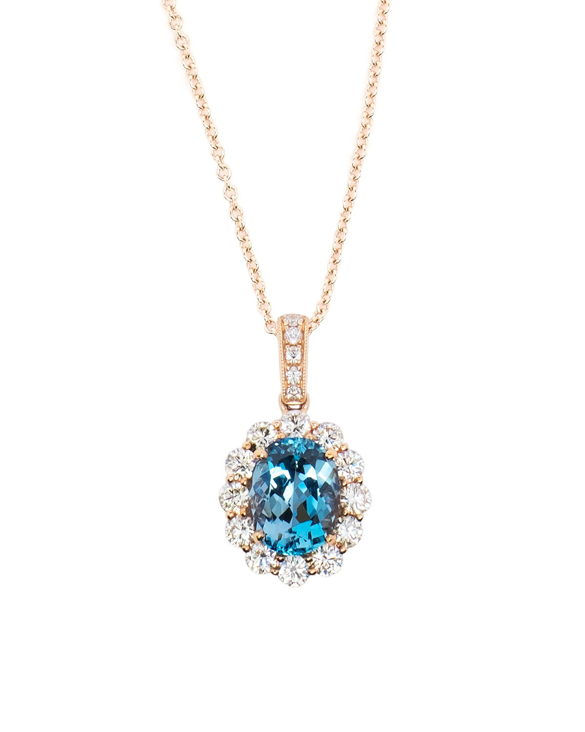 Santa Maria Aquamarine and Diamond Pendant in 18k Rose gold.