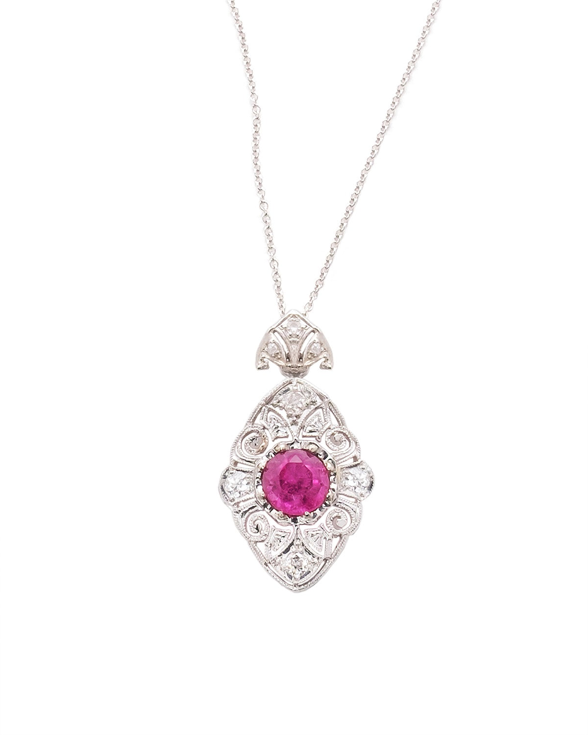 'Cherry Fizz' Art Deco Pendant with Pink Tourmaline.