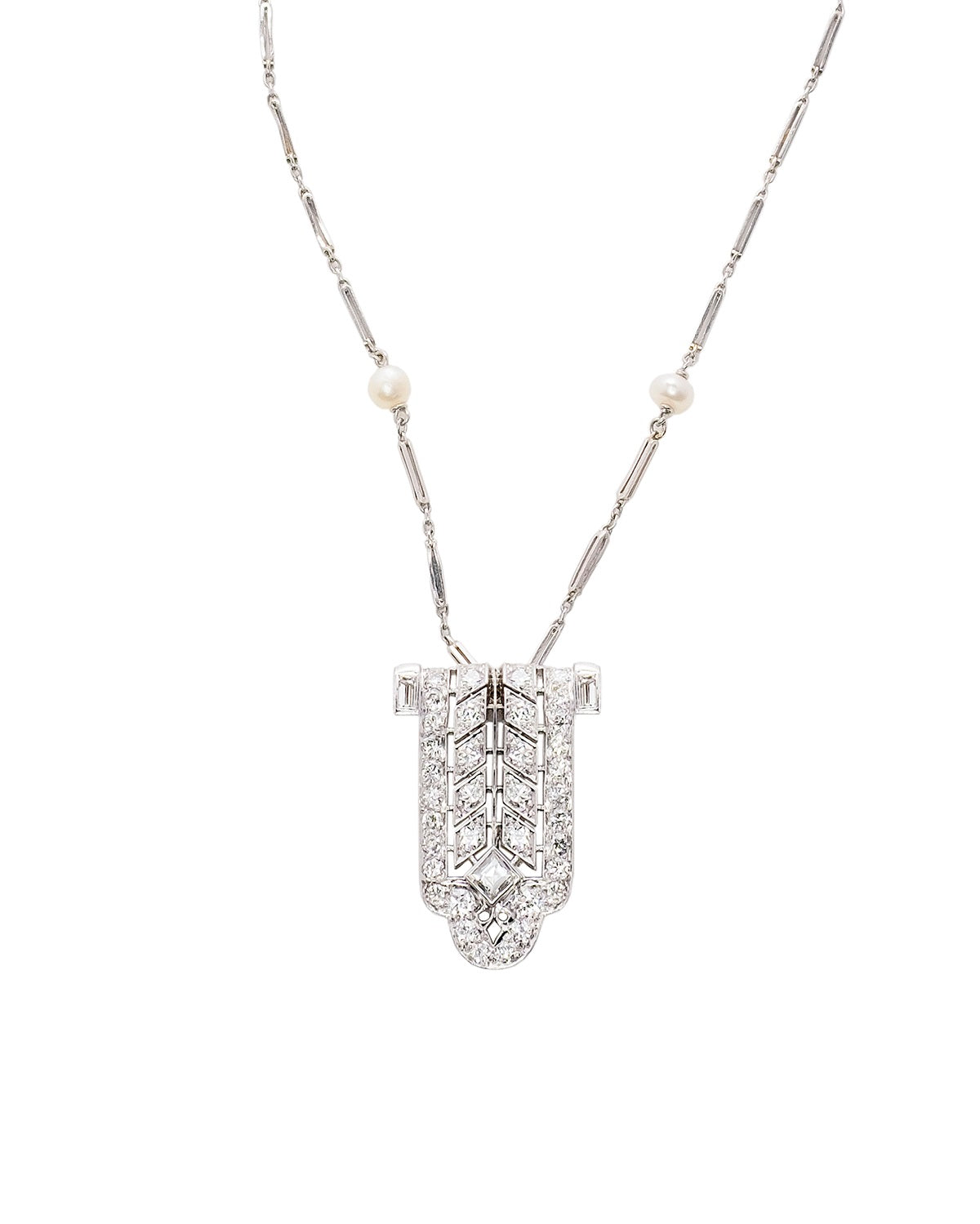 Platinum and Diamond Antique Art Deco Necklace Pendant
