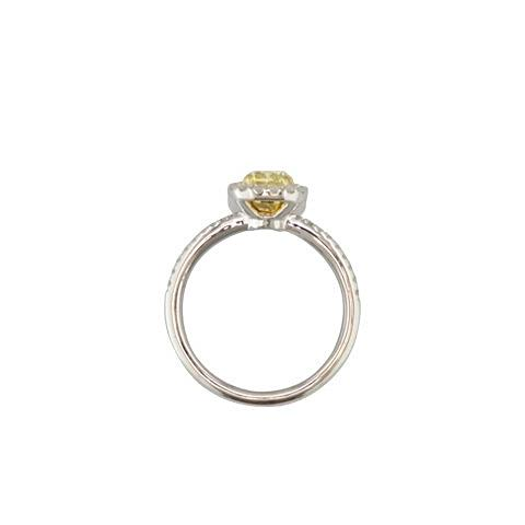 'Beatrice' cushion cut fancy yellow diamond halo engagement ring.