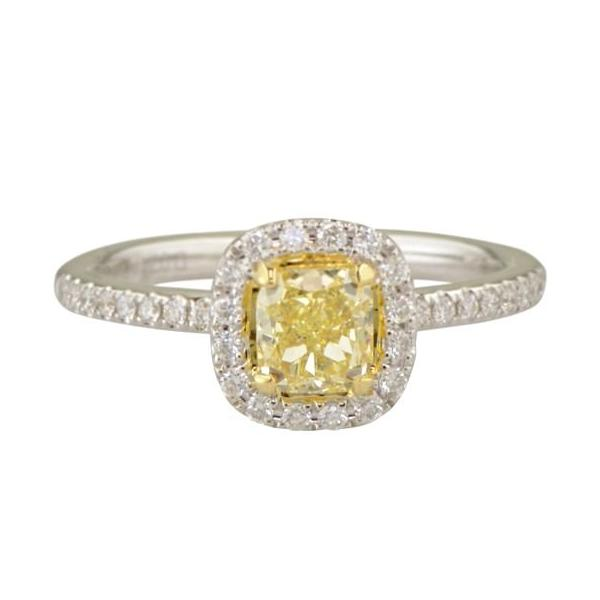 Beatrice fancy yellow diamond halo engagement ring.