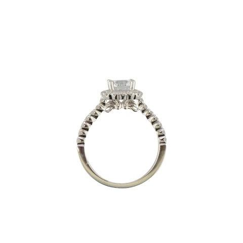 Diadori halo emgagement ring in 18k white gold 'Brunswick'.