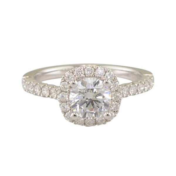 'Brunswick' 18k white gold halo engagement ring by Diadori