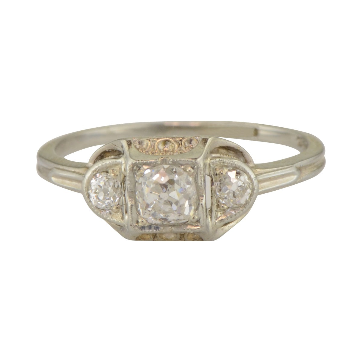 Collins Art Deco Vintage Engagement Ring in White Gold